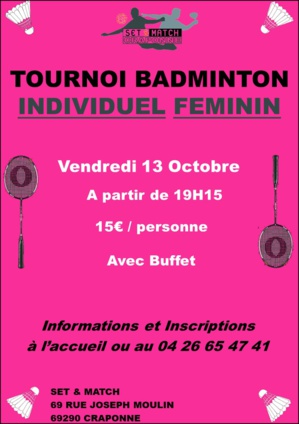 TOURNOI INDIVIDUEL FEMININ BADMINTON