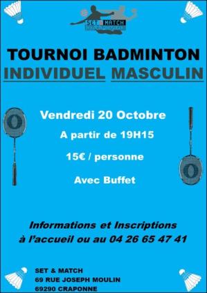 TOURNOI INDIVIDUEL MASCULIN BADMINTON